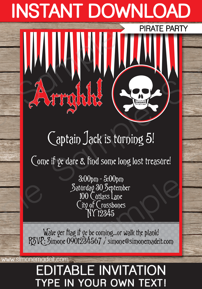 pirate party invitations template red black