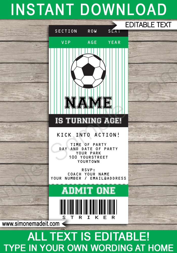 soccer party ticket invitations template