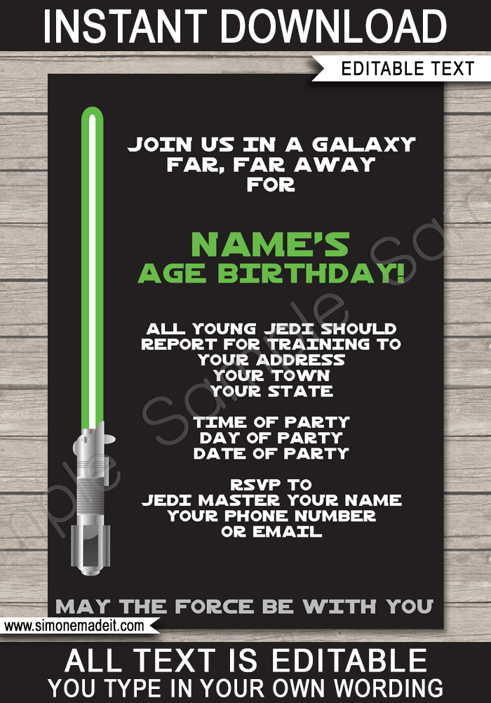 star wars party invitations template