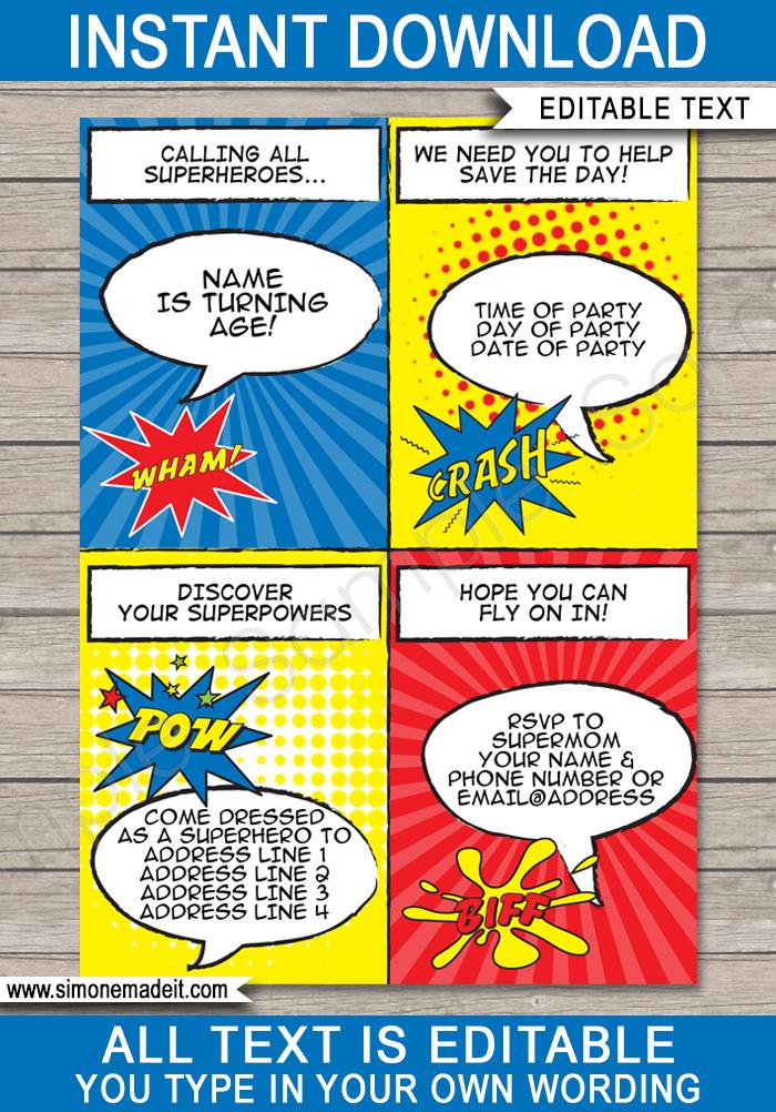 superhero party invitations template
