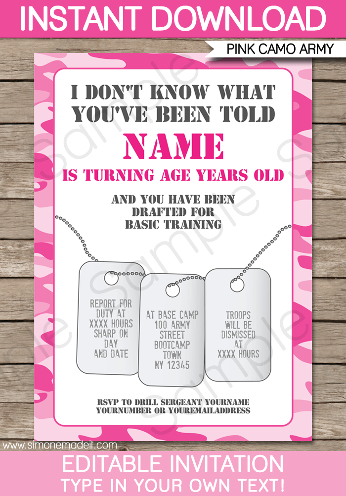 pink camo party invitations template