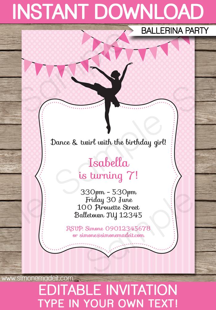 ballerina party invitations template