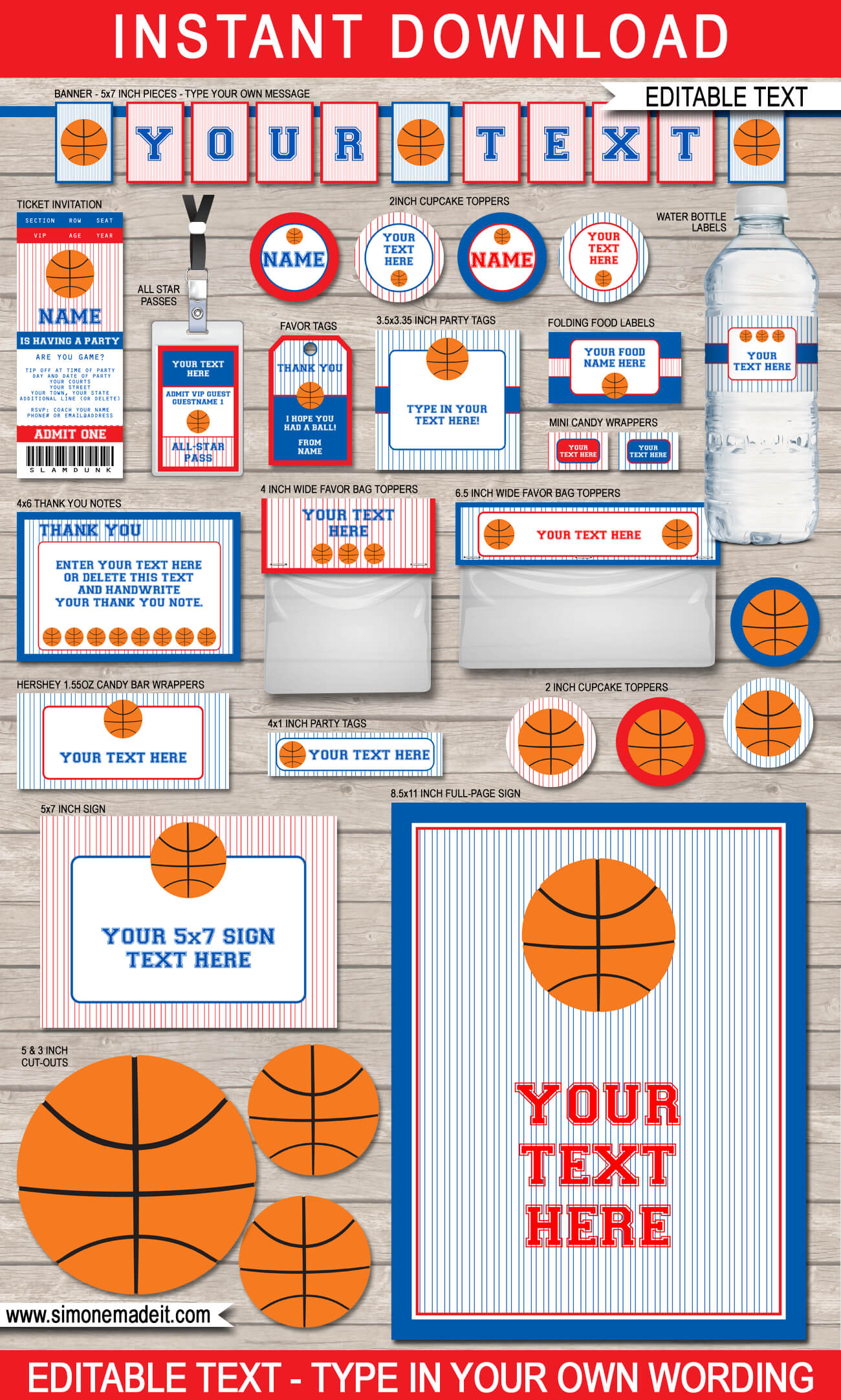Navy Red Basketball Printables Invitations Amp Decorations