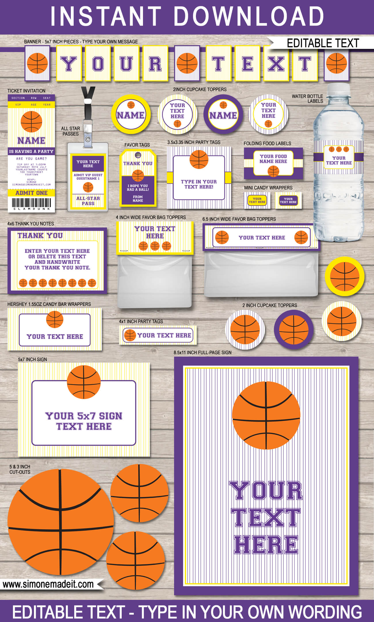 basketball printables invitations decorations colors