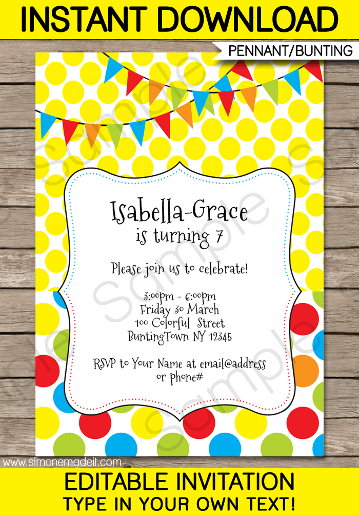 Colorful Bunting Invitations Template Birthday Party