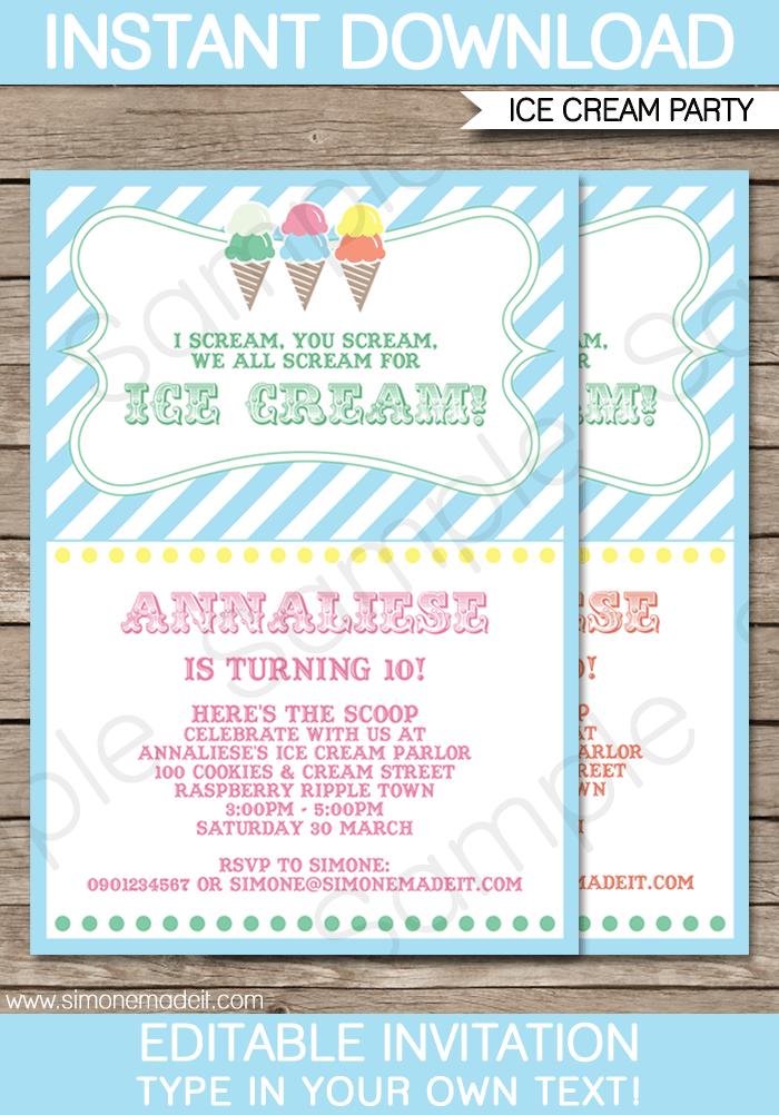 ice cream party invitations template