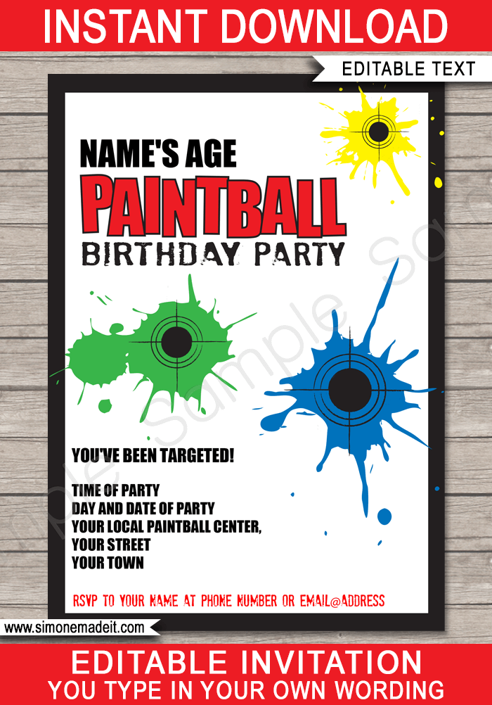 paintball party invitations template