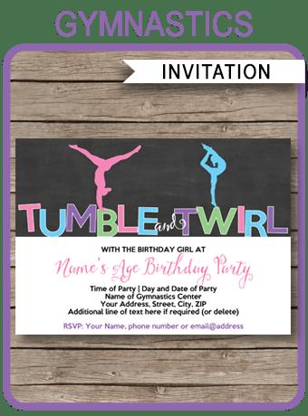 gymnastics party invitations template