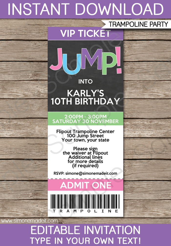 trampoline birthday party ticket invitations template girls