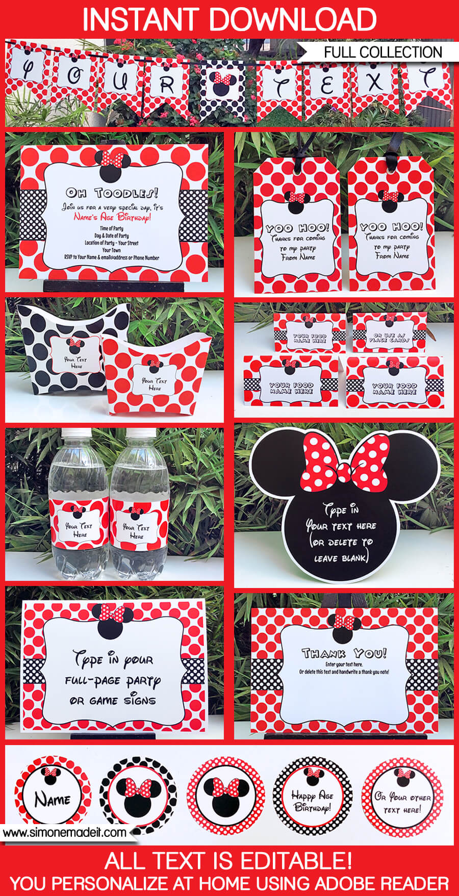 minnie mouse birthday party printables invitations decorations red