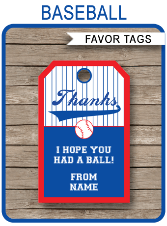 Baseball Party Favor Tags Template Thank You Tags