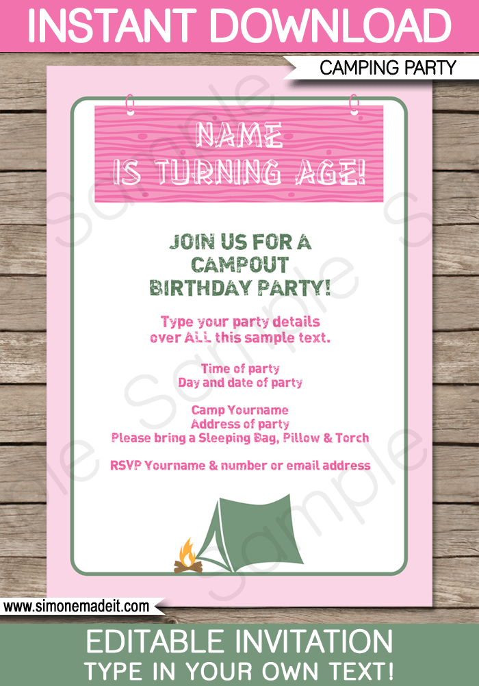 camping party invitations template pink