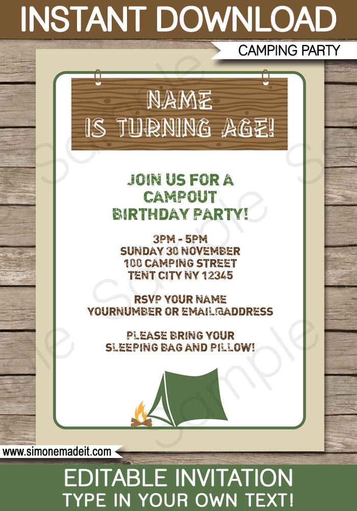 camping party printables invitations decorations