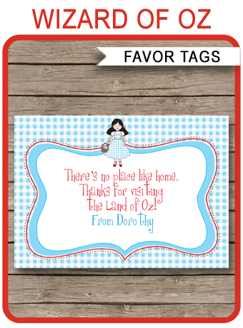 Wizard Of Oz Party Favor Tags Thank You Tags