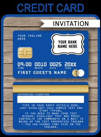 Blue Credit Card Invitations Mall Scavenger Hunt Invitations