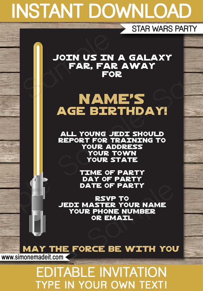 Gold Star Wars Invitations Editable Template Birthday Party