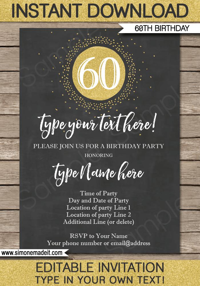 Chalkboard 60th Birthday Invitations Template Editable