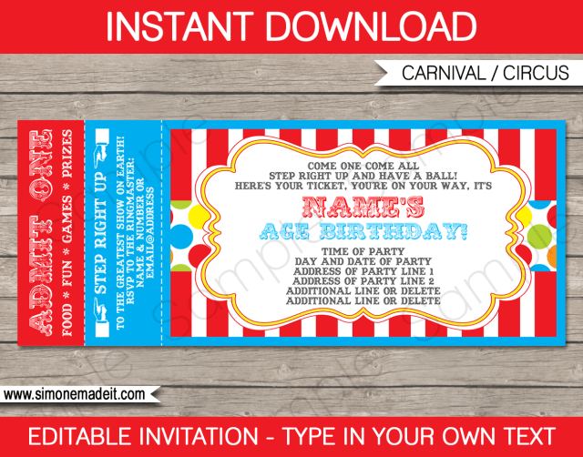 circus ticket invitation template free download