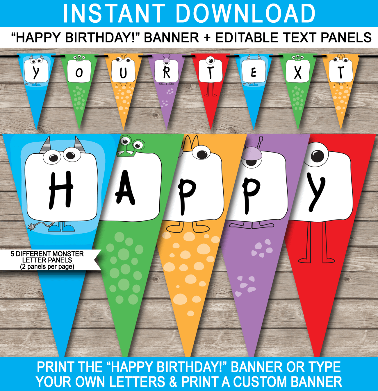 Monster Party Banner Template