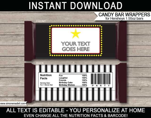 hershey candy bar wrapper template - free download