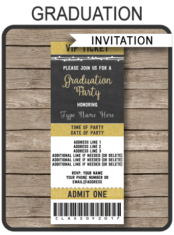 Graduation Party Ticket Invitations Template Graduation