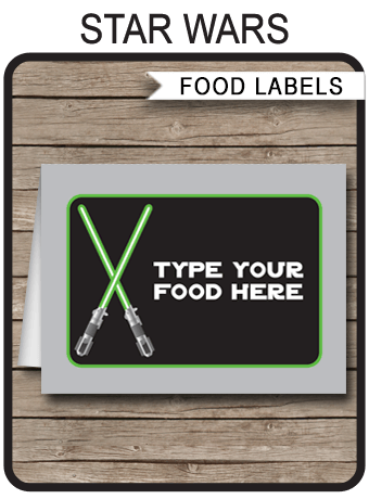 Star Wars Party Food Labels Place Cards Birthday Party