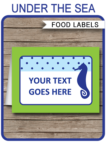 Under The Sea Theme Food Labels Template Place Cards
