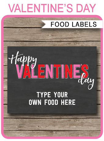 Valentines Day Food Labels Placecards Party Decorations