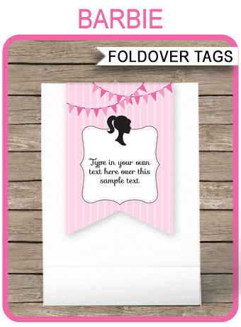 Barbie Favor Tag Toppers Barbie Theme Thank You Tags