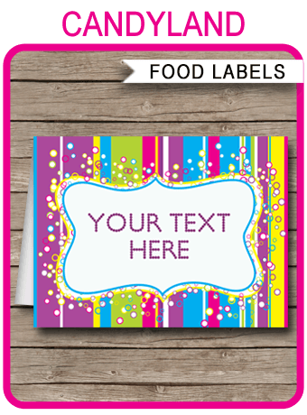 Colorful Food Labels Place Cards Printable Amp Editable