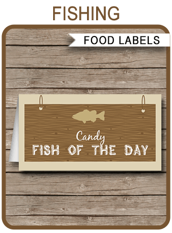 Fishing Party Food Labels Place Cards Fishing Theme