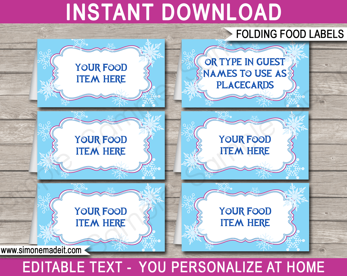 picture relating to Free Frozen Printable Food Labels known as No cost Printable Foods Tent Playing cards Templates