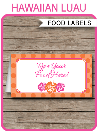 Hawaiian Luau Party Food Labels Place Cards Hawaiian