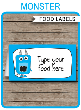 Monster Party Food Labels Place Cards Monster Theme