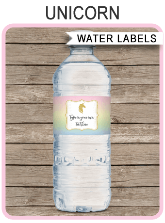 Unicorn Water Bottle Labels Unicorn Theme Birthday Party