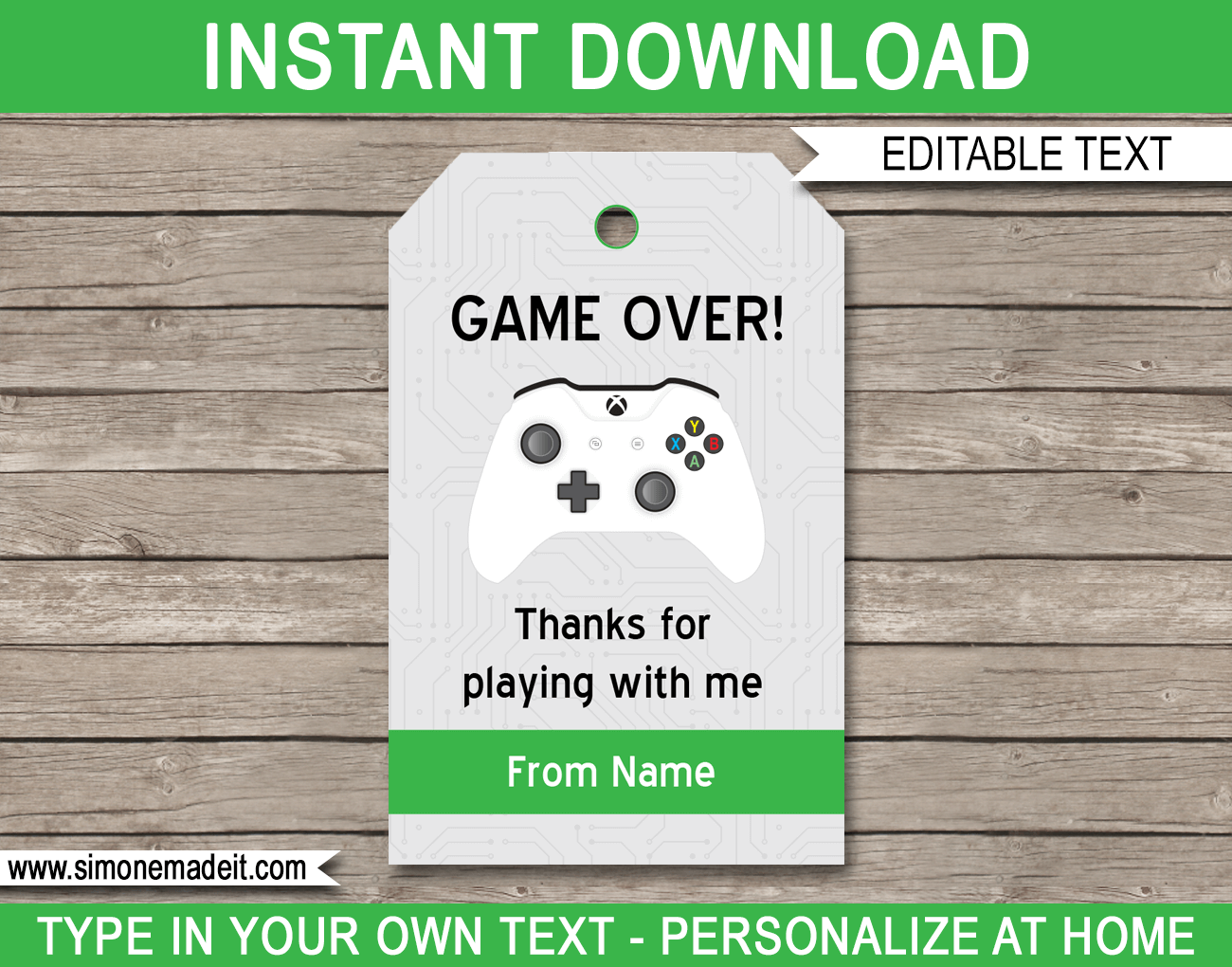 Xbox Party Favor Tags