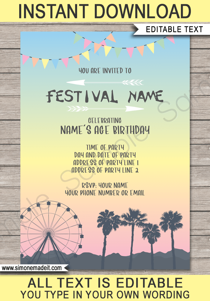 coachella themed party invitations template pastel colors