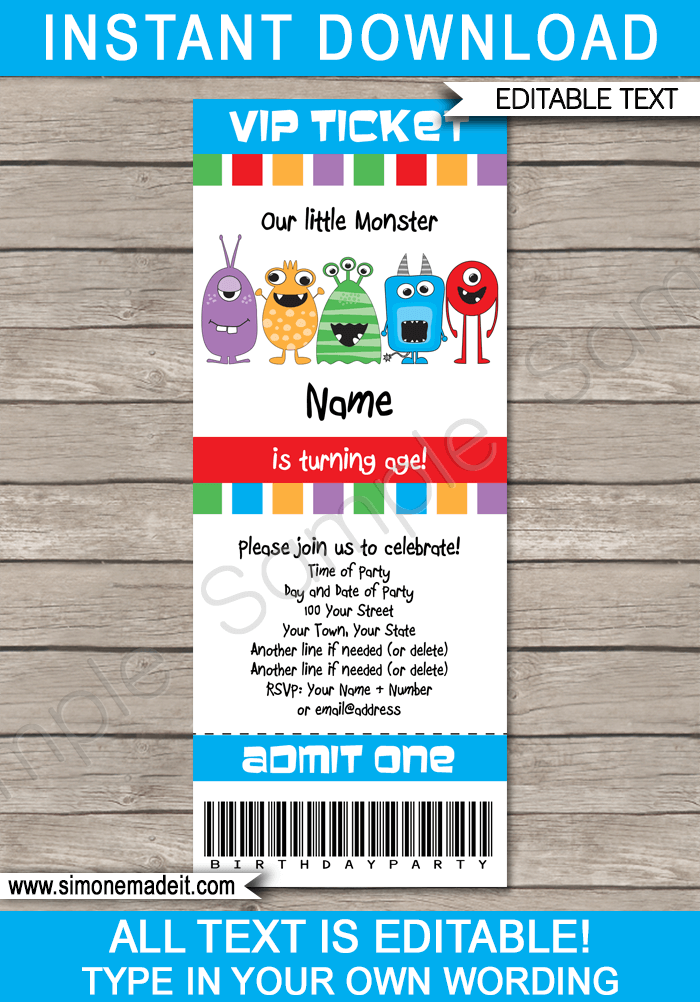 monster party ticket invitation template