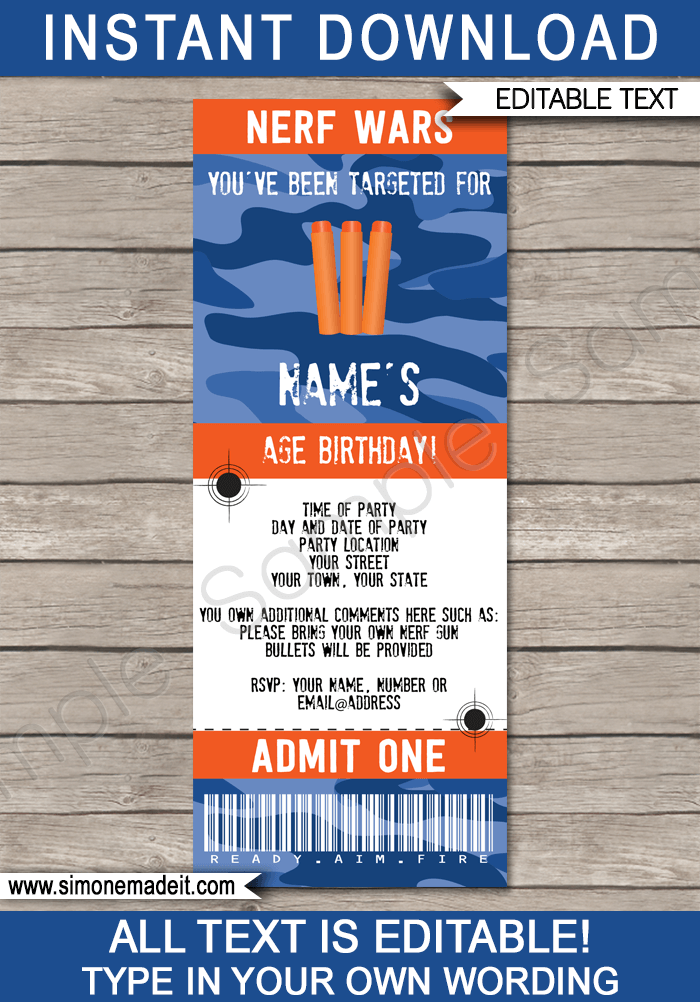 nerf party ticket invitation template blue camo
