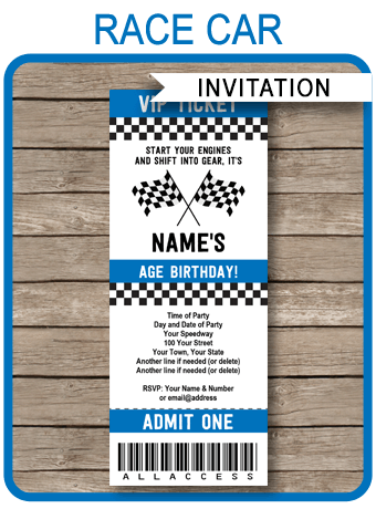 race car ticket invitations template blue