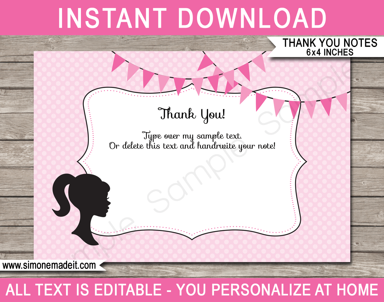 barbie party thank you cards template