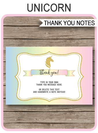 Printable Unicorn Party Thank You Cards Unicorn Birthday