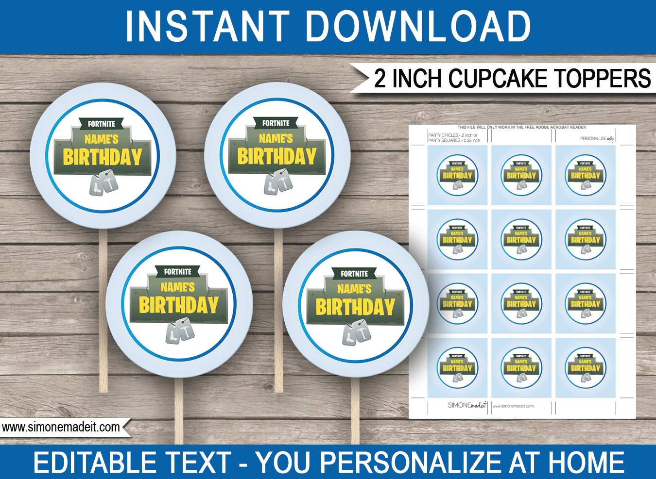 Printable Fortnite Cupcake Toppers Template
