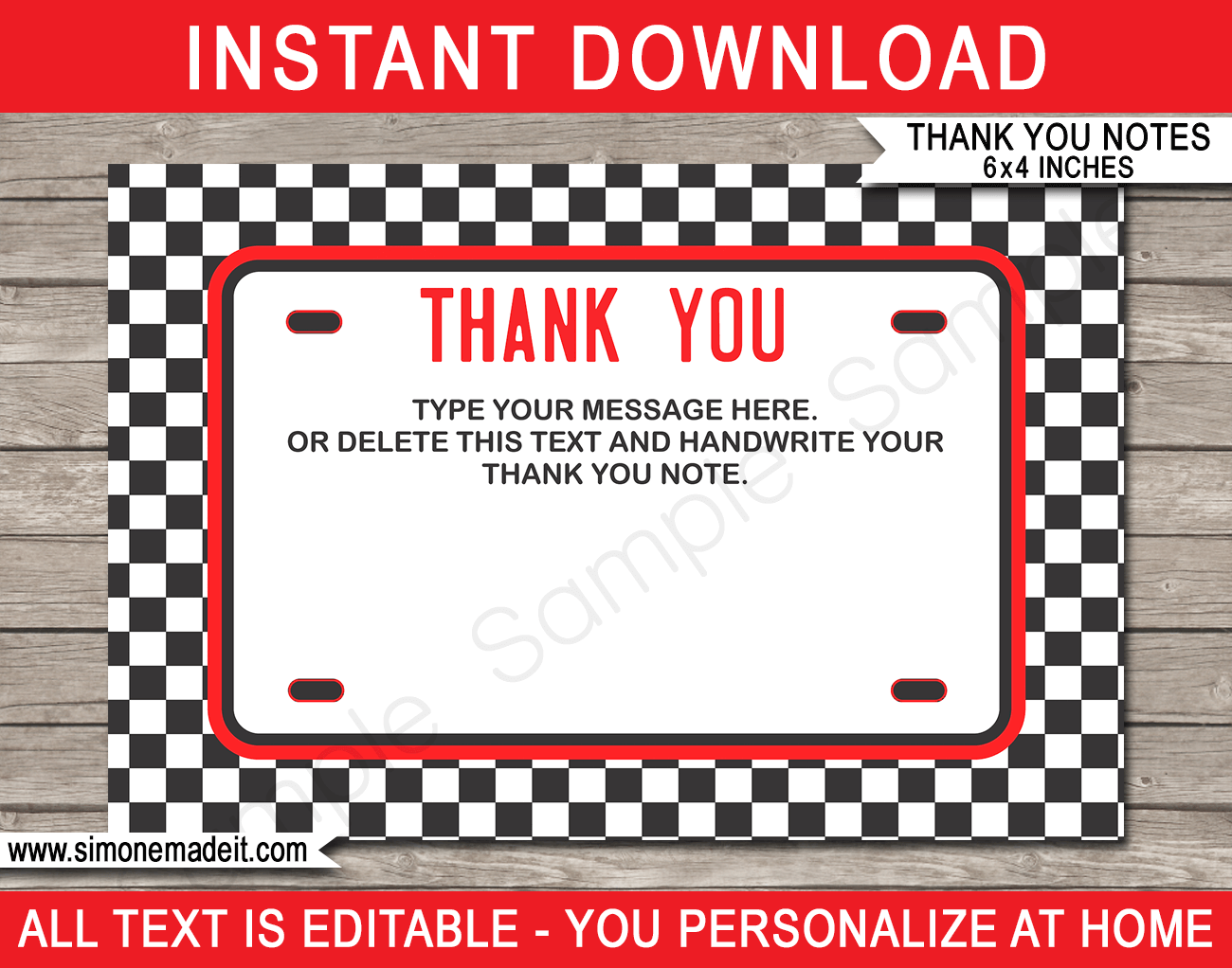 race car party thank you cards template red