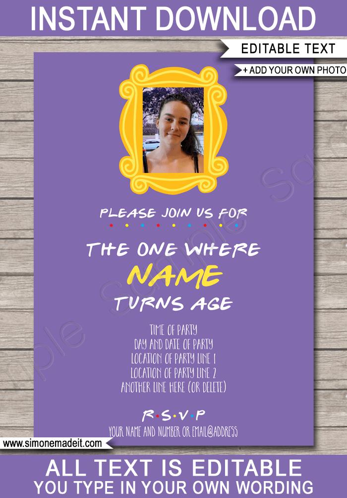 friends themed birthday invitations template purple