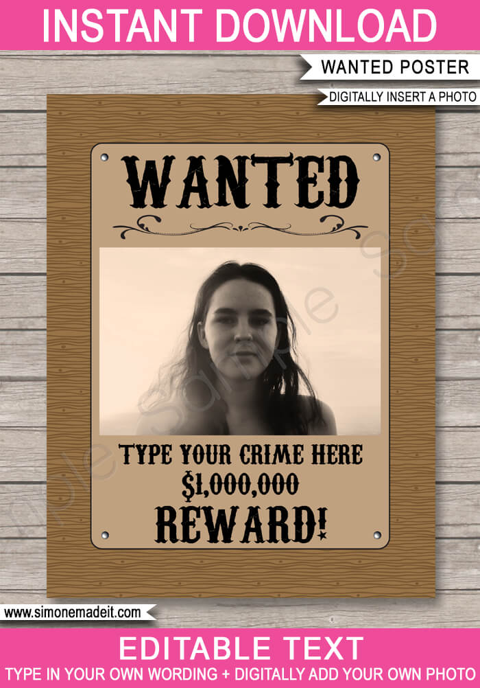 cowgirl wanted poster template with photo