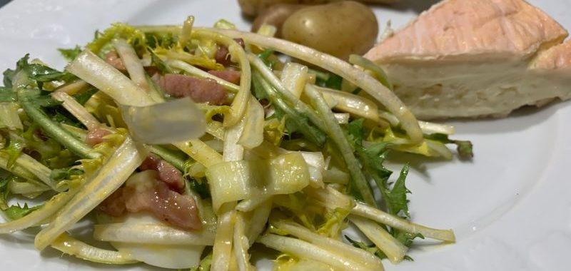salade pissenlit lard et oeufs
