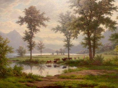 Robert Zünd, Lac des Quatree cantons, vue sur le Vitznaustock, non daté, Huile sur toile