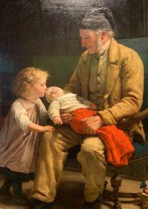 Albert Anker, Vieillard et deux enfants, 1881, Huile sur toile