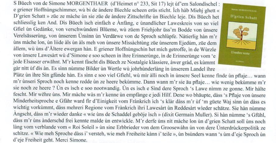 article Morgenthaler Remy Ombre verte Heimet